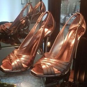 ALDO gold metallic  peep toe chrome heel stilettos